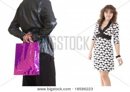 man offering a gift to a woman. isolated on white