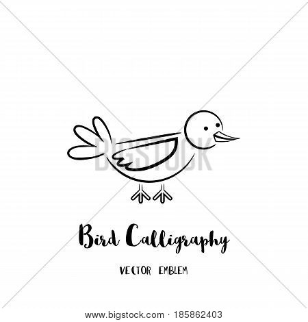 Bird calligraphy emblem. Vector abstract animal sign in lettering style