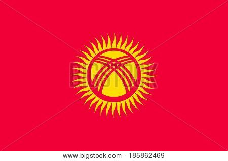 National flag of Kyrgyzstan Republic. Patriotic sign in official national country colors - sun on red background. Symbol of Central Asia state. Vector icon illustration