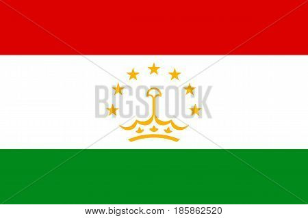 National flag of Tajikistan Republic. Patriotic sign in official national country colors - green, red and white. Symbol of Central Asia state. Vector icon illustration