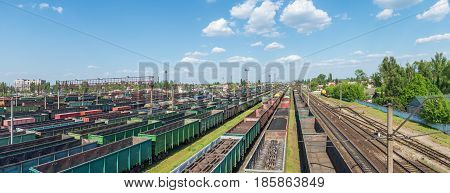 A major junction railway yard on which sorting of freight railway trains takes place