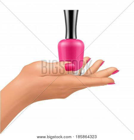 Nail polish bottles on hand with shiny lacquer fingernails. Mock-up of cosmetic package for glamour manicure. Vector containers illustration isolated on white background.