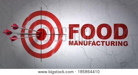 Success Industry concept: arrows hitting the center of target, Red Food Manufacturing on wall background, 3D rendering