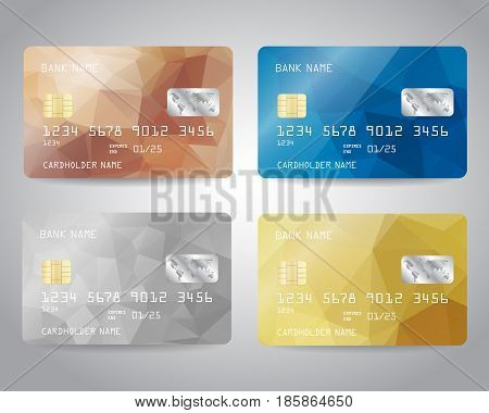 Realistic detailed credit cards set with colorful gold, silver, bronze, blue triangular design background. Golden card. Silver card. Bronze card. Vector template EPS10