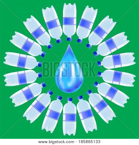 Set of Plastic Water Bottles and Blue Water Drop Isolated on Green Background