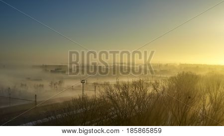 view of fogy city morning during sunrise in Bratislava the capital of Slovakia