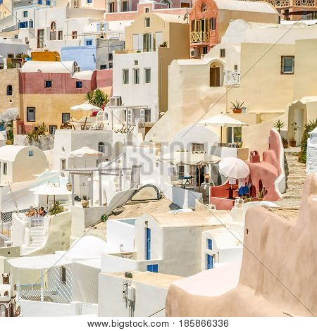 view of Oia in Santorini greek island
