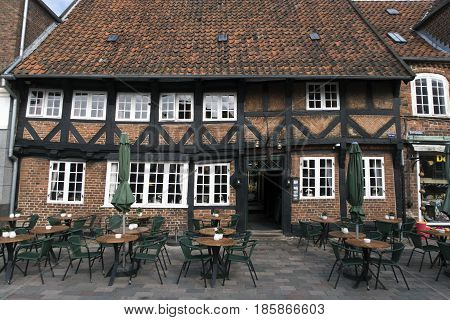 RIBE DENMARK - MAY 5 2017: Weis Stue in Ribe is one of Denmark's oldest and most beautiful inns situated on the town square in the oldest town of Denmark.