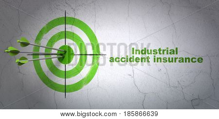 Success Insurance concept: arrows hitting the center of target, Green Industrial Accident Insurance on wall background, 3D rendering
