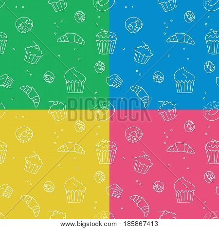 Vector set of pastry seamless pattern backgrounds.