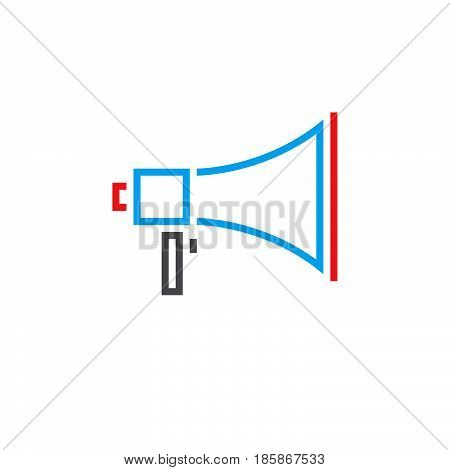 Bullhorn Line Icon, Megaphone Outline Vector Logo, Linear Pictogram Isolated On White, Pixel Perfect
