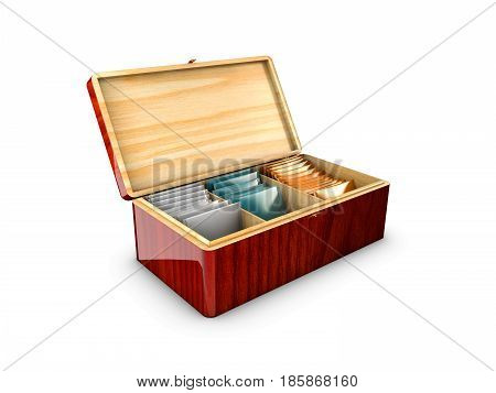 Wood box packaging for tea and tea bags. 3d illustration