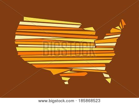 colored USA map illustration with background and lines