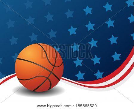 Basketball, illustration art with usa flag background
