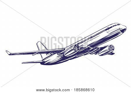airliner, aircraft hand drawn vector illustration realistic sketch