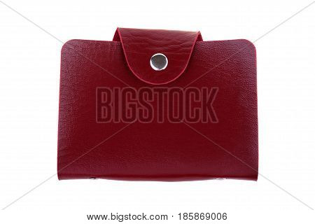 Red leather card holder isolated on white background.