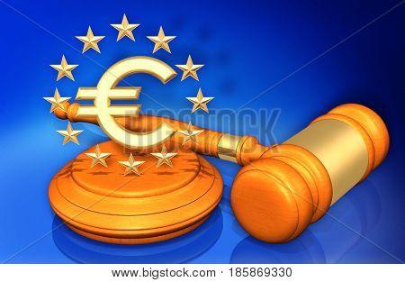 European Union Law Gavel Concept 3D Illustration