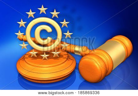 European Union Copyright Law Gavel Concept 3D Illustration