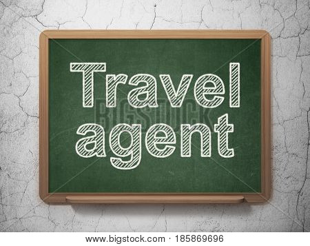 Tourism concept: text Travel Agent on Green chalkboard on grunge wall background, 3D rendering