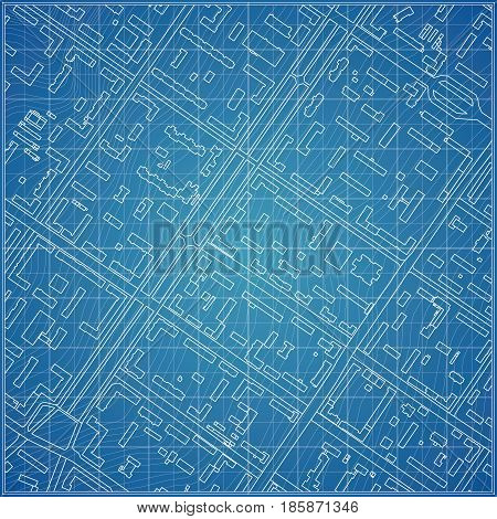 Vector blueprint with city topography Vector illustration