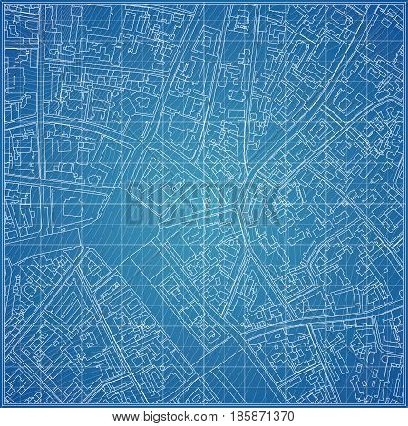 Vector blueprint with city topography. Architectural background