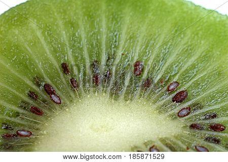 Extreme close-up image of kiwi slice