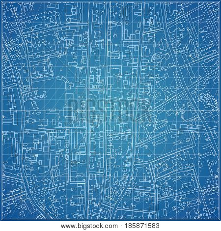 Vector blueprint with city topography. Vector illustration
