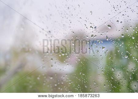 Rain Drops On Glass Window