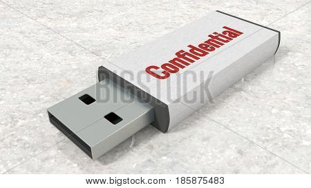 USB stick with the red word confidential close up on marble table 3D illustration