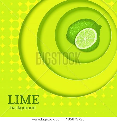 Green background with circles on top of each other and citrus fruit lime. Vector illustration. Tropical fresh green lemon round volume background with shadow, for the design of juice food detox diet