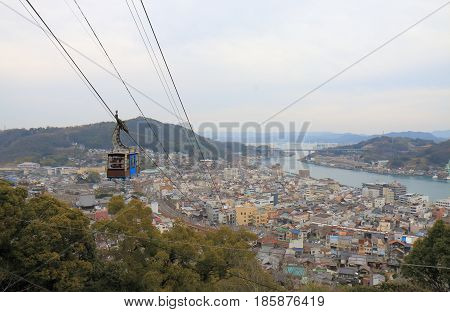 Onomichi cityscape. Onomichi is a historical city with many temples and small alleys.
