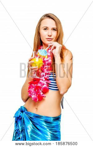 Brunette With A Glass Of Cocktail At An Hawaiian Party In Bikini And Lei On A White Background