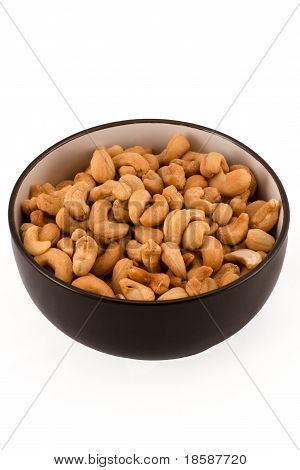 Salted Cashews In A Brown Bowl