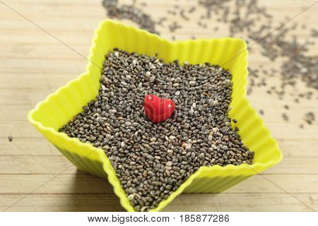 Chia seeds/ This is a chia seeds in star bowl.