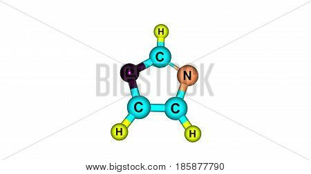Oxazole is the parent compound for a vast class of heterocyclic aromatic organic compounds. 3d illustration