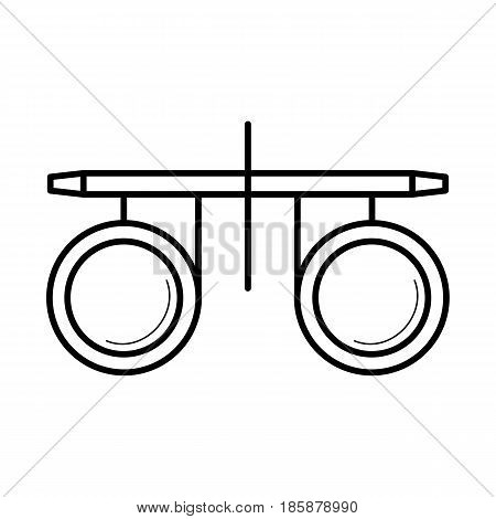 Vision test optometrist glasses, line art pictogram, test before prescribing, image for ophthalmology education, eye doctor poster, optical salon, eye health concept. Flat style vector illustration