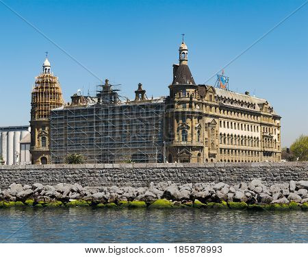 Istanbul Turkey - April 26 2017: Renovation works at Haydarpasha Railway Terminal situated in the Bosphorus Kadikoy Istanbul Turkey built in 1909 and closed in 2013 due to the rehabilitation of the Marmaray line
