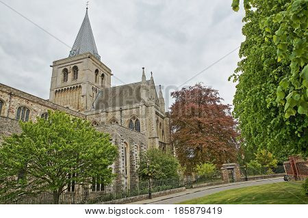 The Cathedral with Spring colors and cloudy sky in Rochester, UK