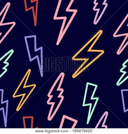 seamless texture with lightning on a black background. a lot of lightning. multicolored lightning