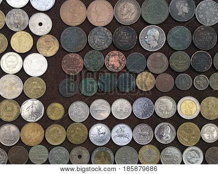 Coins collection of old and modern money