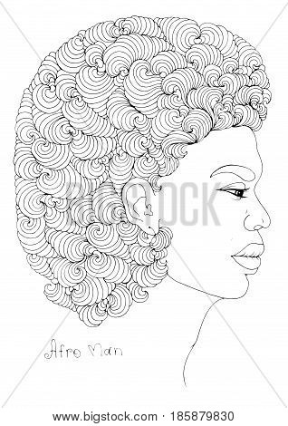 Vector hand drawn line profile portrait of a young African man with magnificent curly afro hairstyle and volumetric earrings. Coloring page. On a white background