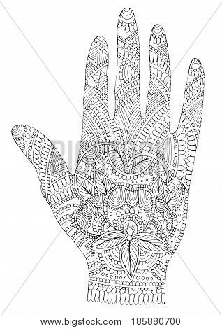 Vector hand drawn tattooed arm with mehendi patterns. Pattern for coloring page A4 size Indian traditional lifestyle. Ornament coloring book for adults.
