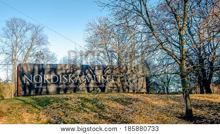 Stockholm, Sweden - October 28, 2016: The Nordic Museum (Swedish: Nordiska museet) is a museum dedicated to the cultural history and ethnography of Sweden