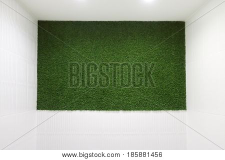 Green lawn on wall in white lit room - this is nature style decoration