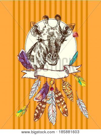 Beautful hand drawn illustration portrait of giraffe. Sketch style.