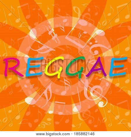 Reggae bright music background with musical notes