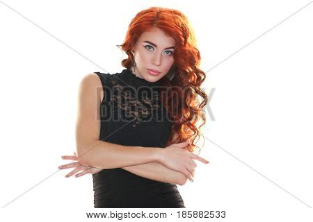 Beautiful young woman with red curly hair gently isolatred on white