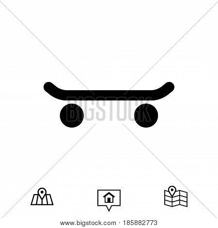 skateboard side view icon stock vector illustration flat design
