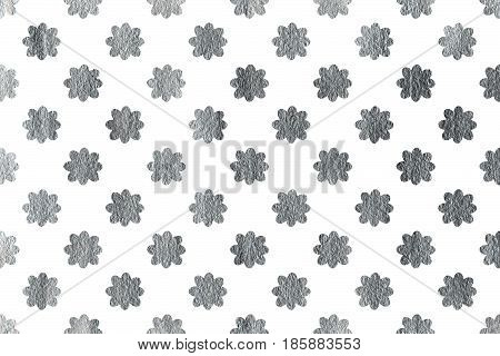 Silver Flowers On White Background.