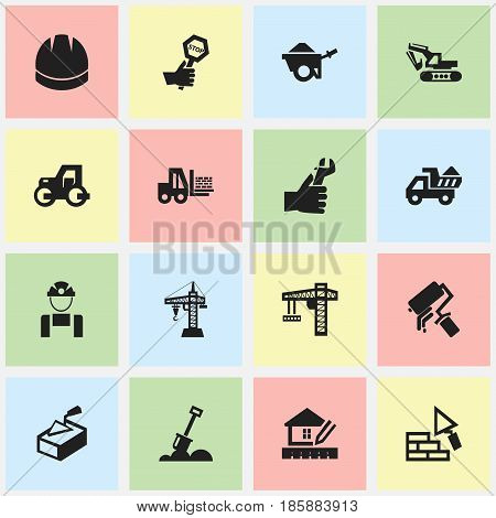 Set Of 16 Editable Structure Icons. Includes Symbols Such As Truck , Hands , Oar. Can Be Used For Web, Mobile, UI And Infographic Design.